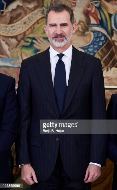 King Felipe VI of Spain receives Organizing Committee of the 'Global Youth Leadership Forum' at Zarzuela Palace on January 10, 2020 in Madrid, Spain.