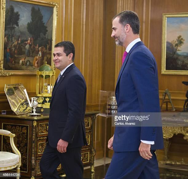 King Felipe VI of Spain receives President of Honduras Juan Orlando Hernandez Alvarado at the Zarzuela Palace on October 1 2014 in Madrid Spain