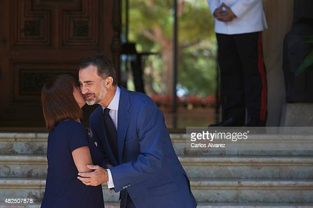 King Felipe VI of Spain receives President of Mallorca's Consell Francina Armengol Socias at the Marivent Palace on July 31, 2015 in Palma de...