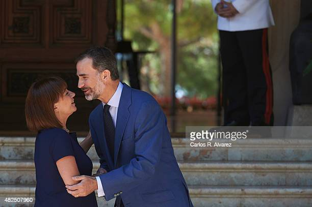 King Felipe VI of Spain receives President of Mallorca's Consell Francina Armengol Socias at the Marivent Palace on July 31 2015 in Palma de Mallorca...