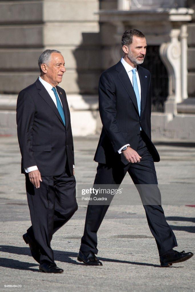 King Felipe VI of Spain (R) receives president of Portugal Marcelo Rebelo de Sousa (L) at the Royal Palace on April 16, 2018 in Madrid, Spain.