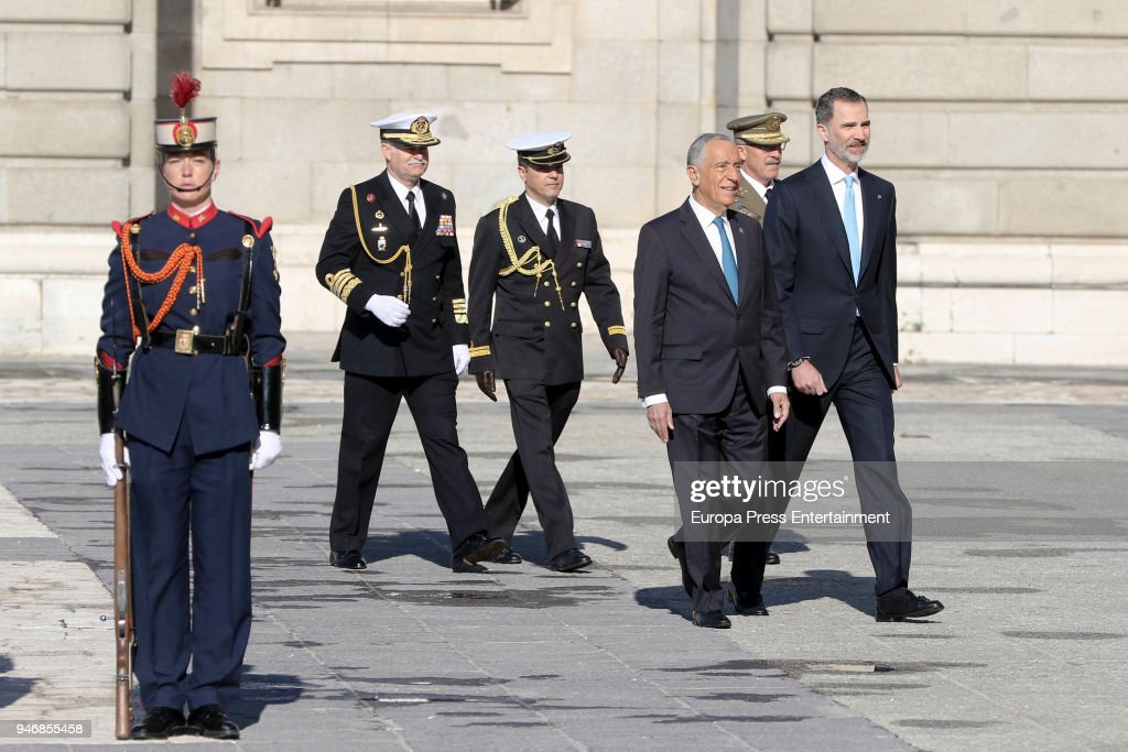 King Felipe VI of Spain (R) receives president of Portugal Marcelo Rebelo de Sousa (R) on April 16, 2018 in Madrid, Spain.