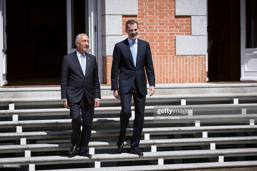 King Felipe VI of Spain (R) receives president of Portugal Marcelo Rebelo (L) de Sousa at Zarzuela Palace on April 16, 2018 in Madrid, Spain.