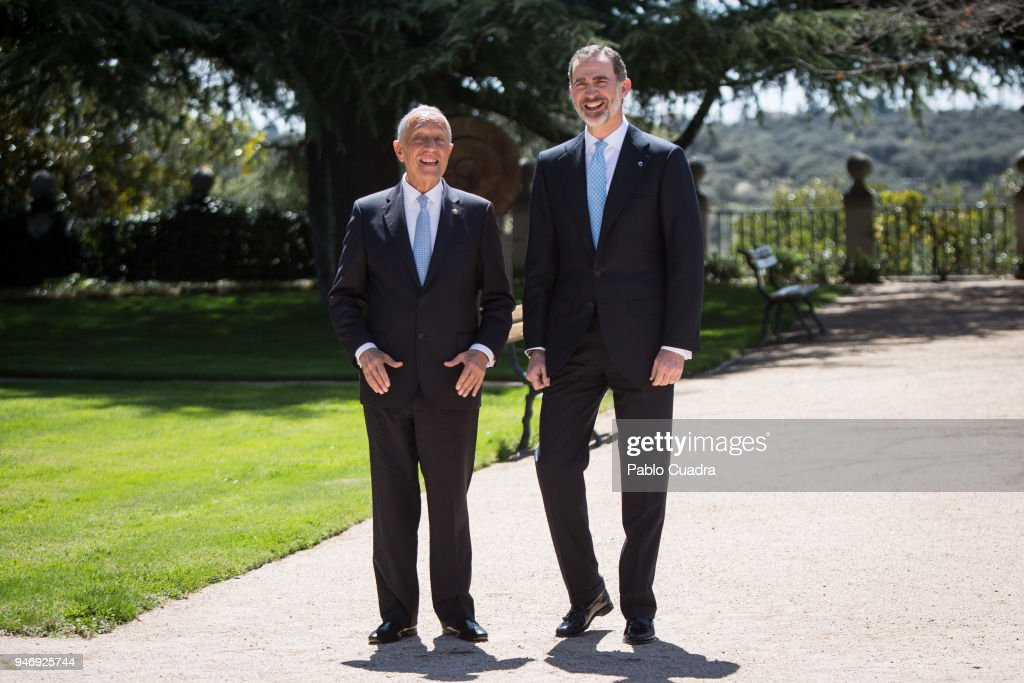 King Felipe VI of Spain (R) receives president of Portugal Marcelo Rebelo (L) de Sousa at Zarzuela Palace on April 16, 2018 in Madrid, Spain.