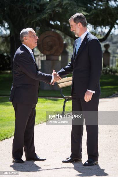 King Felipe VI of Spain receives president of Portugal Marcelo Rebelo de Sousa at Zarzuela Palace on April 16, 2018 in Madrid, Spain.