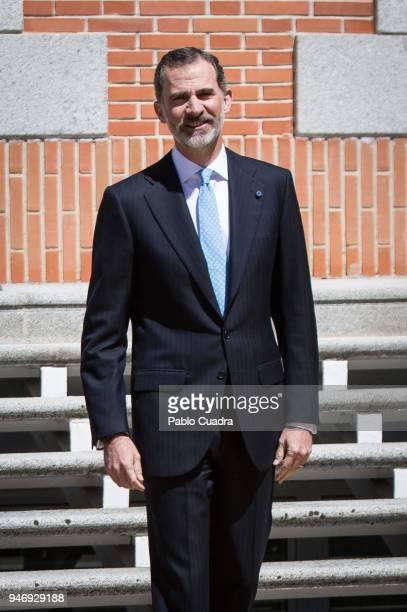 King Felipe VI of Spain receives president of Portugal Marcelo Rebelo de Sousa at the Royal Palace on April 16 2018 in Madrid Spain
