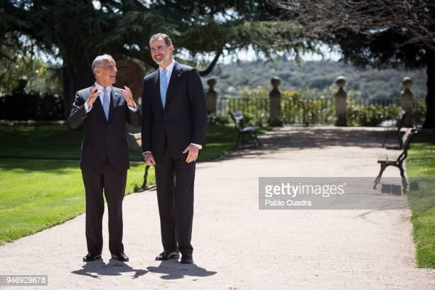 King Felipe VI of Spain receives president of Portugal Marcelo Rebelo de Sousa at Zarzuela Palace on April 16 2018 in Madrid Spain