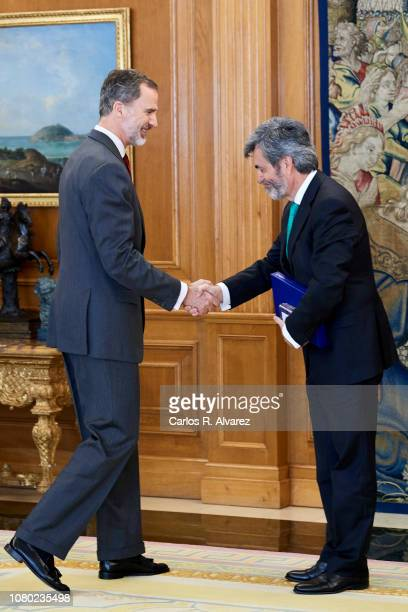 King Felipe VI of Spain receives President of Supreme Court Carlos Lesmes Serrano at the Zarzuela Palace on December 10 2018 in Madrid Spain