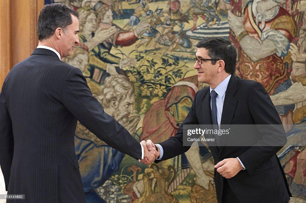 King Felipe VI Of Spain Recieves Patxi Lopez