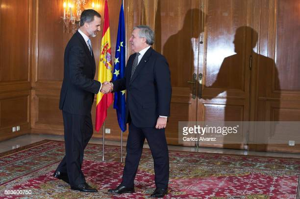 King Felipe VI of Spain receives President of the European Parliament Antonio Tajani at the Reconquista Hotel during the 'Princesa De Asturias'...
