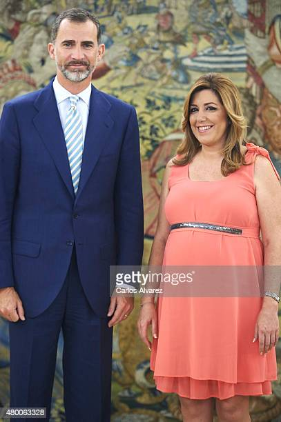 King Felipe VI of Spain receives President of the regional government of Andalusia Susana Diaz at the Zarzuela Palace on July 9 2015 in Madrid Spain