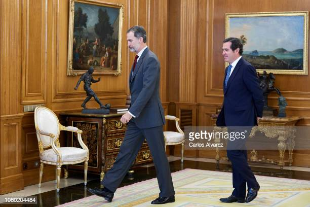 King Felipe VI of Spain receives President of the Spanish Confederation of Business Organisations Antonio Garamendi Lecanda at the Zarzuela Palace on...
