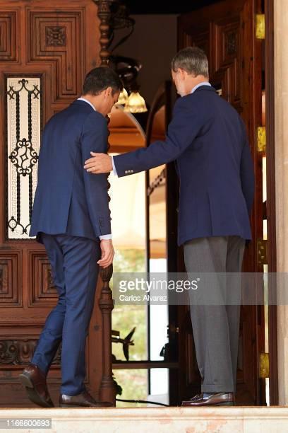 King Felipe VI of Spain receives prime minister Pedro Sanchez at Marivent Palace on August 07 2019 in Palma de Mallorca Spain
