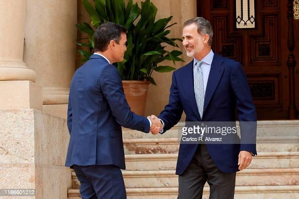 King Felipe VI of Spain receives prime minister Pedro Sanchez at Marivent Palace on August 07, 2019 in Palma de Mallorca, Spain.