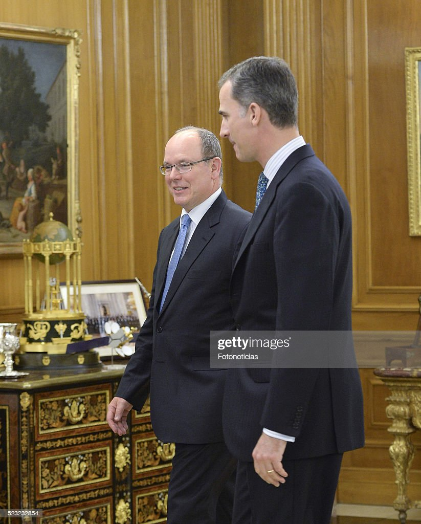 King Felipe VI of Spain (R) receives Prince Albert II of Monaco at Zarzuela Palace on April 22, 2016 in Madrid, Spain.