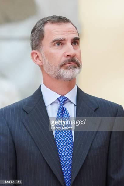 King Felipe VI of Spain receives 'Que Es Un Rey Para Ti' competition winners at El Pardo Palace on March 11, 2019 in Madrid, Spain.