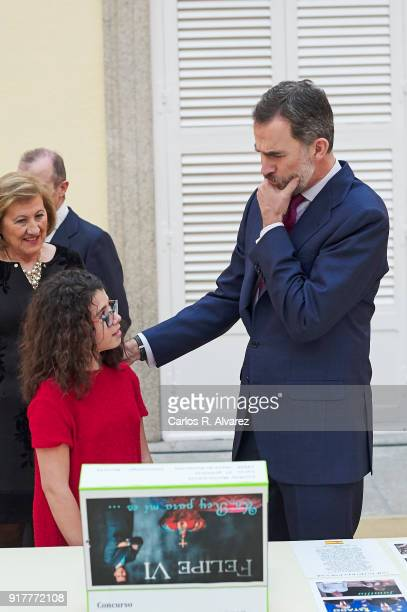 King Felipe VI of Spain receives 'Que Es Un Rey Para Ti' competition winners at El Pardo Palace on February 13 2018 in Madrid Spain