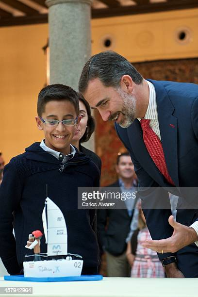 King Felipe Vi of Spain receives Que Es Un Rey Para Ti school competition winners at the El Pardo Palace on October 27 2014 in Madrid Spain