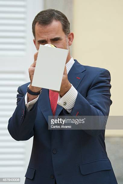 King Felipe Vi of Spain receives 'Que Es Un Rey Para Ti' school competition winners at the El Pardo Palace on October 27 2014 in Madrid Spain