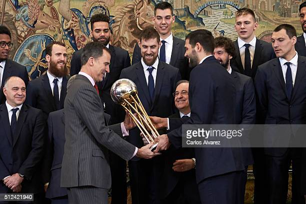 King Felipe VI of Spain receives Real Madrid Basket Team at the Zarzuela Palace on February 26, 2016 in Madrid, Spain.