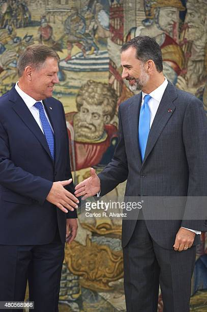 King Felipe VI of Spain receives Romanian President Klaus Werner Iohannis at the Zarzuela Palace on July 13 2015 in Madrid Spain