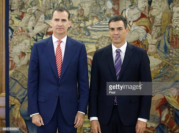 King Felipe VI of Spain receives Secretary General of the PSOE Pedro Sanchez at the Zarzuela Palace on July 28 2016 in Madrid Spain