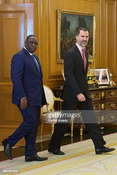 King Felipe VI of Spain receives Senegal's President Macky Sall at the Zarzuela Palace on December 15 2014 in Madrid Spain