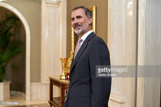 King Felipe VI of Spain receives Spain Basketball National Selection at Zarzuela Palace on September 16, 2019 in Madrid, Spain.