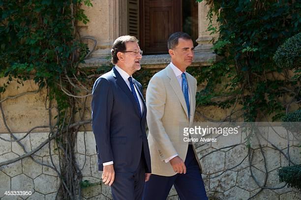 King Felipe VI of Spain receives Spanish President Mariano Rajoy at Marivent Palace on August 8, 2014 in Palma de Mallorca, Spain.