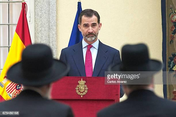 King Felipe VI of Spain receives the '2016 Lord Jakobovits Prize of European Jewry' at El Pardo Palace on December 13, 2016 in Madrid, Spain.