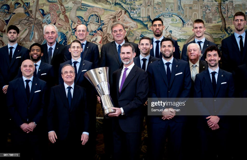 King Felipe of Spain Meets Real Madrid Basketball Team