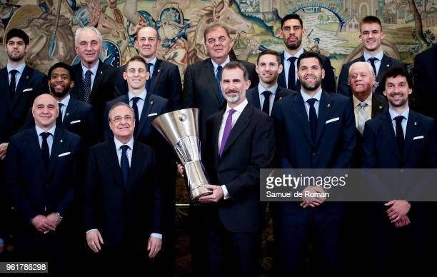 King Felipe VI of Spain receives the basketball team of Real Madrid champion of the Euroleague 2017/2018 at Zarzuela Palace on May 23 2018 in Madrid...