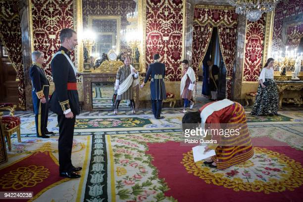 King Felipe VI of Spain receives the new ambassador of the Kingdom of Butan to Spain Pema Choden at the Royal Palace on April 5 2018 in Madrid Spain