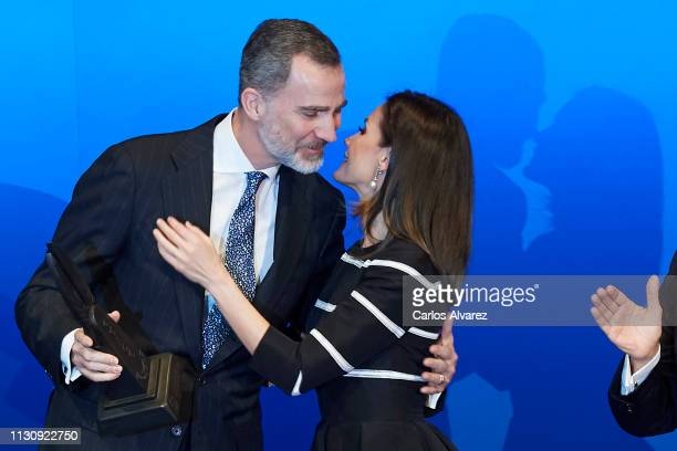 King Felipe VI of Spain receives the 'World Peace and Liberty' award during the closure of 'World Law Congress' at the Royal Theater on February 20...