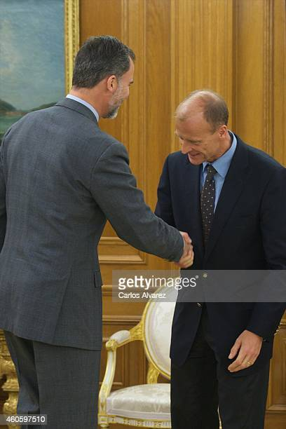 King Felipe VI of Spain receives Thomas 'Tom' Enders chief executive officer of Airbus Group NV at the Zarzuela Palace on December 17 2014 in Madrid...
