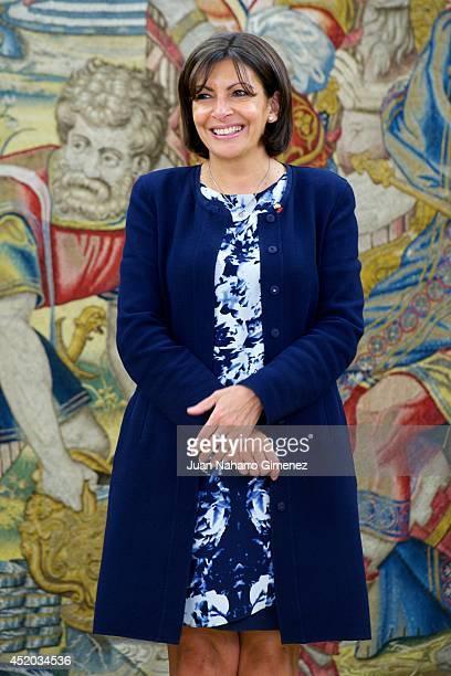 King Felipe VI of Spain receives to the Major of Paris, Anne Hidalgo at Zarzuela Palace on July 11, 2014 in Madrid, Spain.