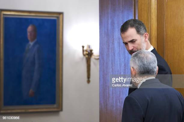 King Felipe VI of Spain receives Turkish Prime Minister Binali Yildirim at the Zarzuela Palace on at Zarzuela Palace on April 25, 2018 in Madrid,...