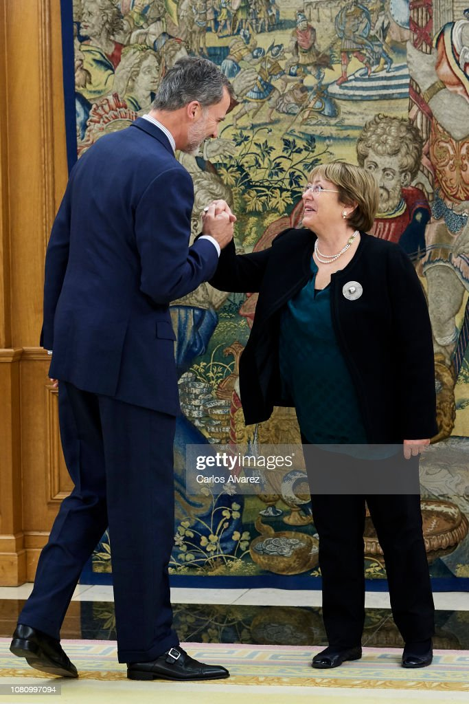 King Felipe Of Spain Meets Michelle Bachelet At Zarzuela Palace : News Photo