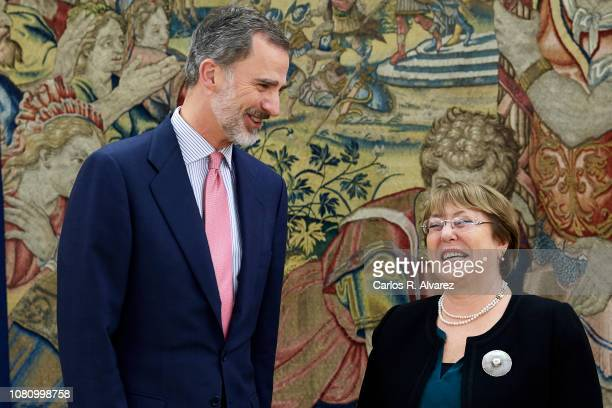 King Felipe VI of Spain receives UN High Commissioner for Human Rights Michelle Bachelet at the Zarzuela Palace on December 11 2018 in Madrid Spain