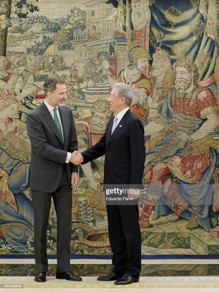 King Felipe of Spain receives Teo Chee Hean at Zarzuela Palace