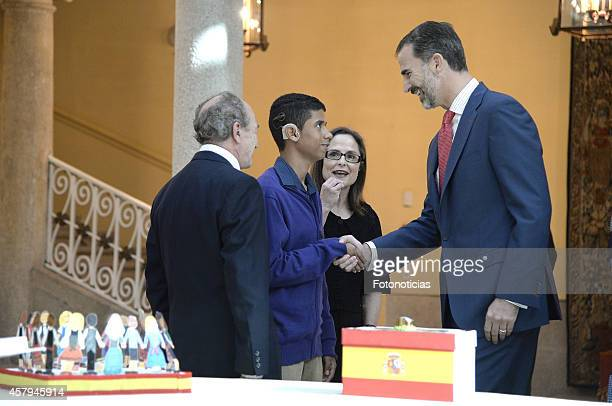 King Felipe VI of Spain receives winners of 'Que Es un Rey Para Ti' children drawing contest at El Pardo Palace on October 27 2014 in Madrid Spain