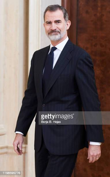 King Felipe VI of Spain receives XXII superior promotion of inspectors of Hacienda at Zarzuela Palace on January 10, 2020 in Madrid, Spain.
