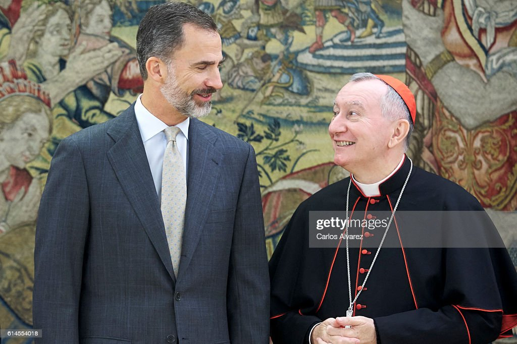 King Felipe VI of Spain (L) recieves Vatican Secretary of State Cardinal Pietro Parolin (R) at Zarzuela Palace on October 14, 2016 in Madrid, Spain.
