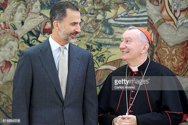 King Felipe VI of Spain recieves Vatican Secretary of State Cardinal Pietro Parolin at Zarzuela Palace on October 14 2016 in Madrid Spain