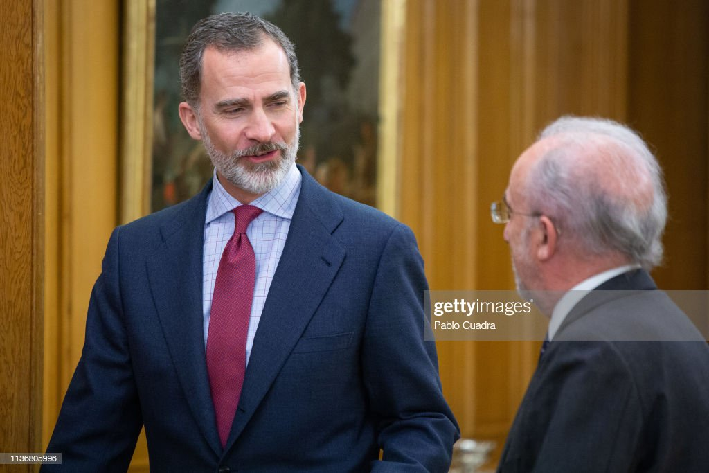 King Felipe Of Spain Receives Santiago Muñoz Machado, Director Of The RAE Academy : News Photo