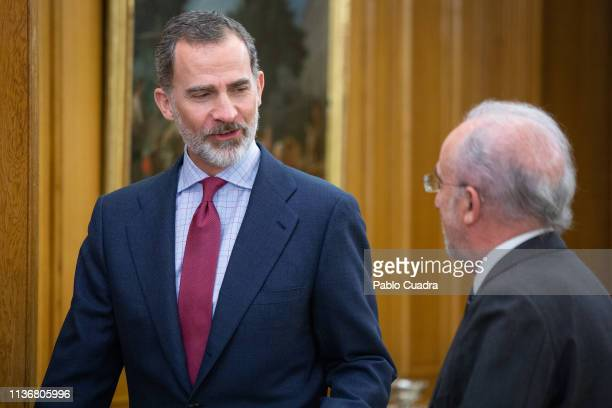 King Felipe VI of Spain recives the director of the RAE Academy Santiago Munoz Machado at Zarzuela Palace on March 19 2019 in Madrid Spain