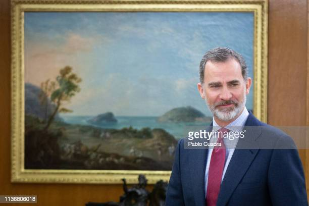 King Felipe VI of Spain recives the director of the RAE Academy Santiago Munoz Machado at Zarzuela Palace on March 19 2019 in Madrid Spain