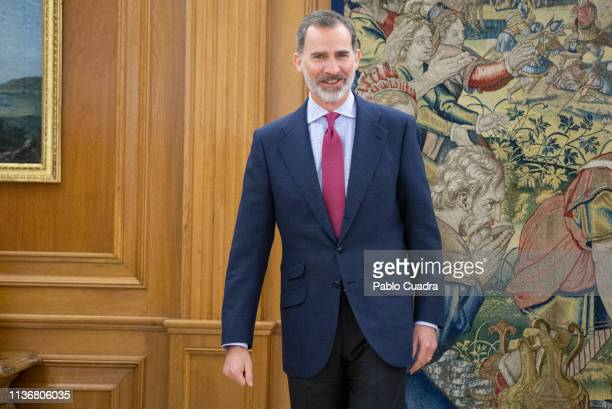 King Felipe VI of Spain recives the director of the RAE Academy, Santiago Munoz Machado at Zarzuela Palace on March 19, 2019 in Madrid, Spain.