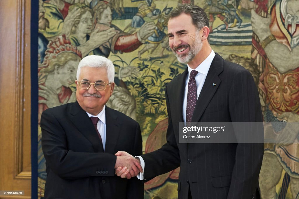 King Felipe VI of Spain (R) reveives Palestinian President Mahmoud Abbas (L) at the Zarzuela Palace on November 20, 2017 in Madrid, Spain.
