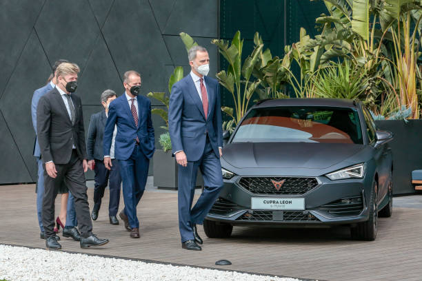 ESP: King Felipe Of Spain Visits SEAT Factory In Martorell